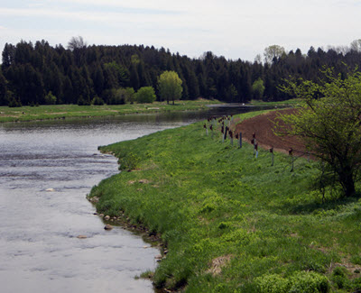 field by river