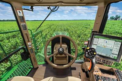 View inside John Deere Tractor with Auto Trac