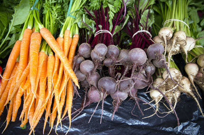root vegetables at market